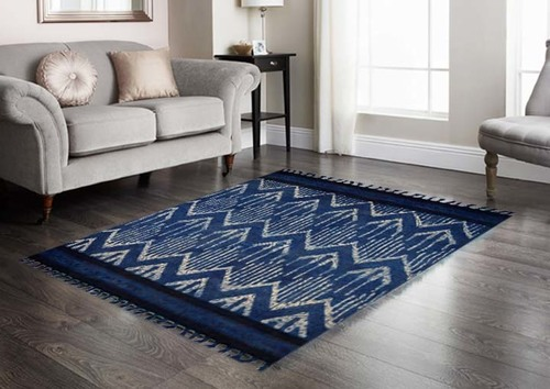 Cotton Handmade Rugs , Natural Color Indigo Handwoven Paddle rug in mud print from Jaipur
