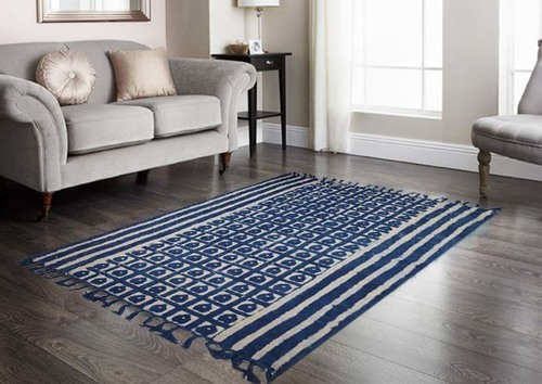 Cotton Printed Indigo Rug