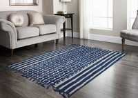 Indigo Geometrical Hand block dabu Printed Area Rugs With Jaipuri Fringes.