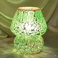 Handcrafted Cylindrical Shaped White Coloured Mosaic DecorGlass Table Lamp Multicolour