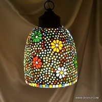 Pink Star Mosaic Glass Lamp Red Star Single Hanging Lamp
