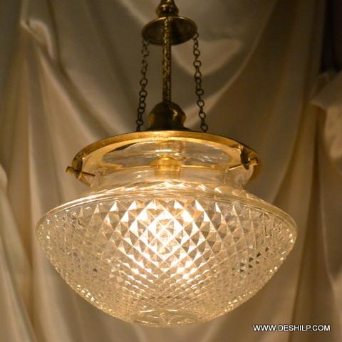 Square Glass Pendant Light Vintage Brass Bell Glass Pendant Hanging