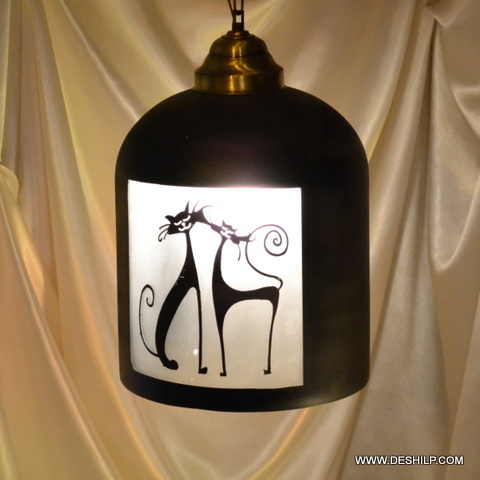 Glass Lamp White Sultan Lamp Red Star Single Hanging Lamp