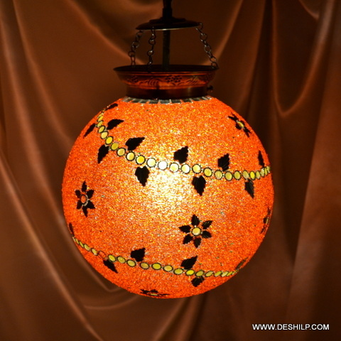 Mosaic Glass Red Sun Lamp
