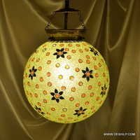 Honey Diamond Single Hanging Mosaic Glass Lamp