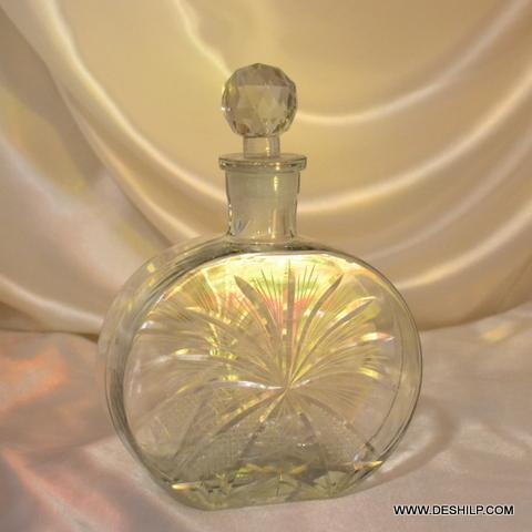 Clear Antique Art Deco Cut Glass Decanter Bottle - Clear Antique Art