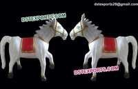 White Small Horse Fiber Statues