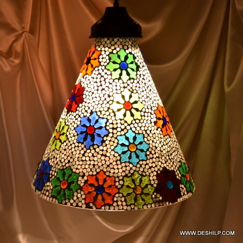 Diamond Single Hanging Mosaic Glass Lamp Nazar Hanging Lamp - Blue