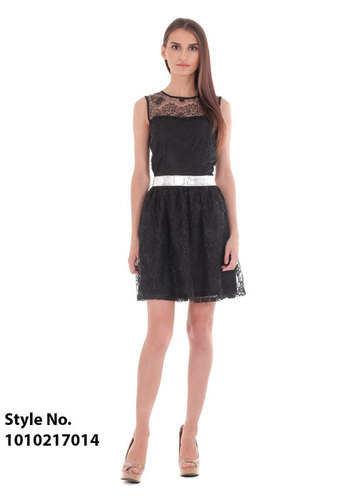 Fit & Flare Black Net Halter Dress
