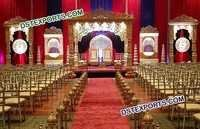 Golden Fiber Carved Wedding Mandap