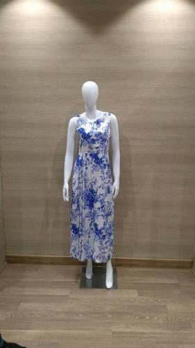 Blue White Floral Maxi Dress