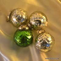 Christmas Ornaments Clear Glass Silver Design Ball Shaped Ornaments