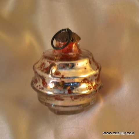 Holiday Lane Gold with Swirl Glass Ball Ornaments Glass Ball Christmas Ornament