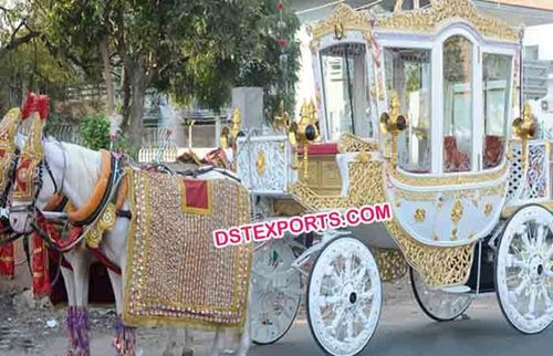 White Golden Horse Drawn Carriage
