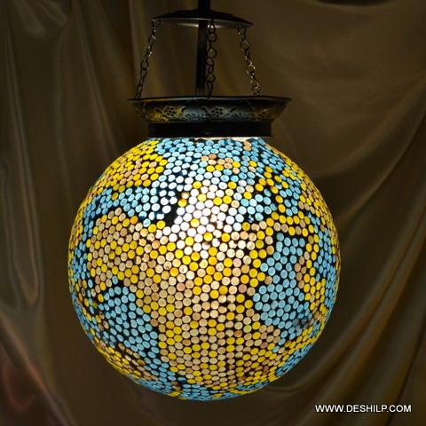 Pink Star Mosaic Glass Lamp White Sultan Lamp
