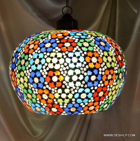 Hanging Vintage Amber Glass Hanging Light Fixture Light Lamp