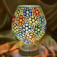 Table Mosaic Handcrafted Lamp Handcrafted Colourful Mosaic Decorated