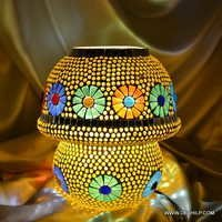 Glass Table Mosaic Handcrafted Lamp EarthenMetal Handcrafted Colourful Mosaic Decorated