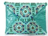 Turqoise Leather Beaded Pouch