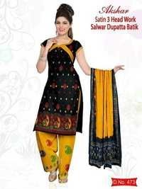 Satin Work Wax Batik Salwar Kameez