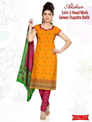 Satin Head Work Cotton Salwar Kameez