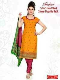 Satin Work Dress Material / Wax Batik Dress