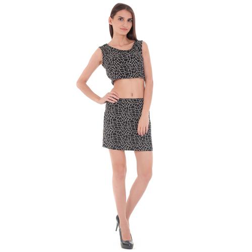 Black Crop Top With Mini Skirt