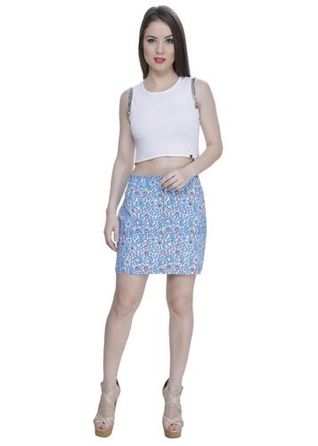 Blue Floral Blend Skirt