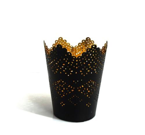 Black Glass T Light Holder