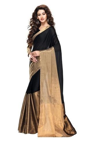 Trendz Cotton Silk Saree (Tz_Vishwa_Black_Black)