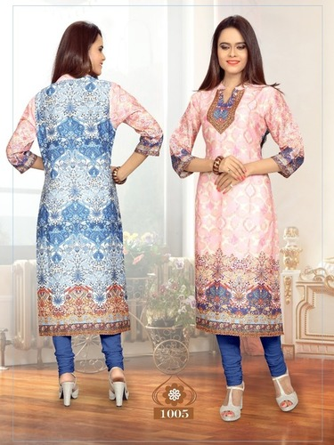 COTTON SATIN DIGITAL PRINTED KURTI