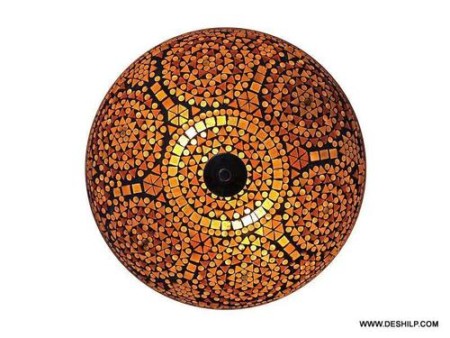 Multicolored Mosaic Brass Ceiling Lamp