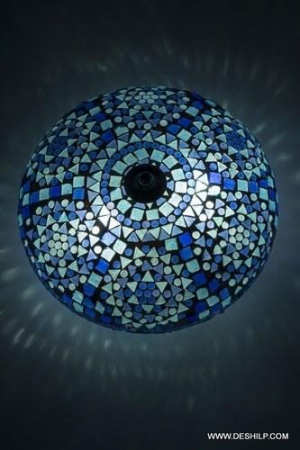 Oriental ceiling light Goa mosaic blue Bohemian 24 cm