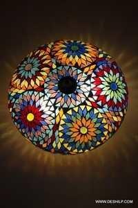 Oosterse plafondlamp Goa mozaiek multicolour Bohemian 24 cm