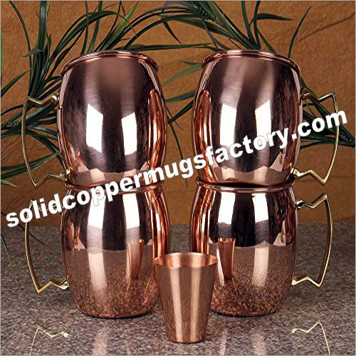 Moscow Mule Copper Mug Plain With Brass Handle