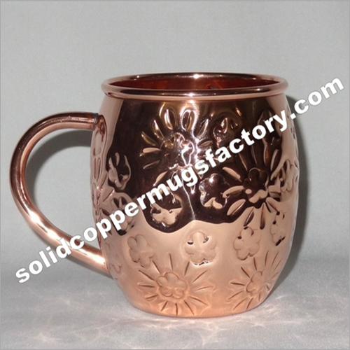 Embossed Solid Copper Beer Mug