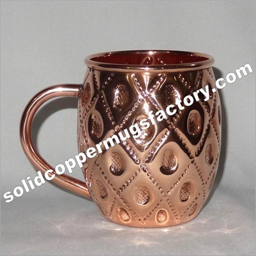 Embossed Solid Copper Beer Mug-moscow Mule Mug-barrel Mug For Ginger Beer Vodka