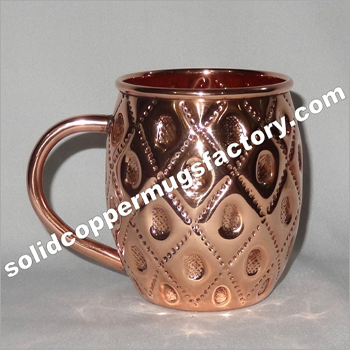 Embossed Solid Copper Beer Mug-moscow Mule Mug-barrel Mug For Ginger Beer Vodka