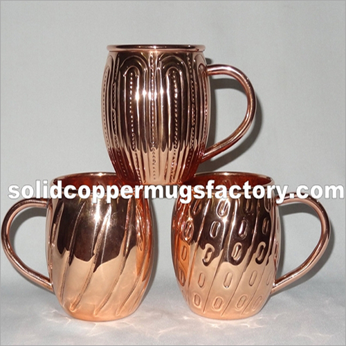 Embossed Solid Copper Beer Mug