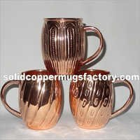 Decorative Embossed Solid Copper Beer Mug