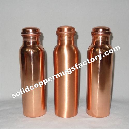 Copper Water Bottle Plain Shiny