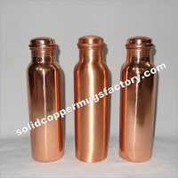 Copper Water Bottle Plain Shiny