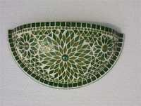 GREEN MOSAIC WALL UPLIGHTER , WALL SCONES , INTRIOER WALL LAMPS