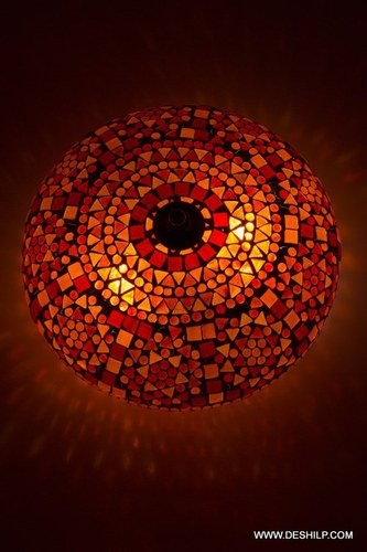 Oriental ceiling light Goa mosaic orange Bohemian 24 cm