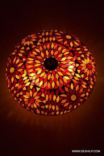 Colorful Decoration Round Glass Candle Holder Mosaic Diya Deco