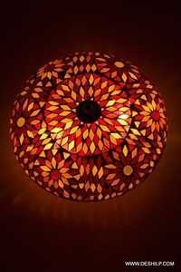 Colorful Decoration Round Glass Candle Holder Mosaic Diya Deco