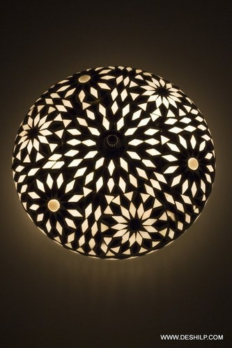 Oriental ceiling light Goa mosaic black & white bohemian