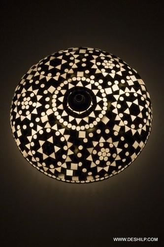 Glass Black & White Ceiling Lamp