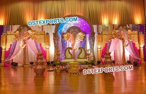 Golden Elephant Face Panels  Stage Decor