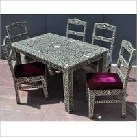Bone Inlay 5 Chairs & Table Dining Set